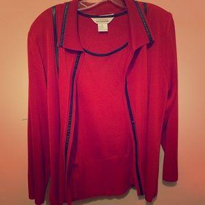 Misook open cardigan w/ long sleeve shirt, sz L